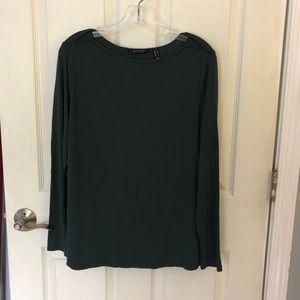 H by Halston Long Sleeved olive stretch shirt M